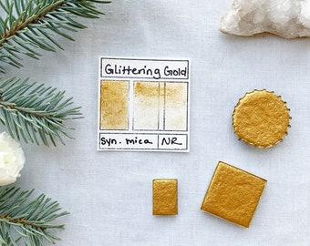 Glittering Gold. Half pan, full pan or bottle cap of handmade watercolor paint