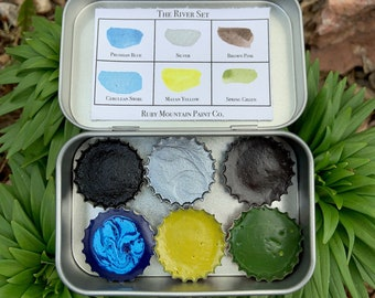 The River Set, a palette of 6 colors of handmade watercolor paint in a new tin