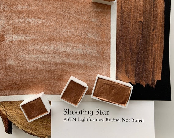 handmade watercolor paint/ Shooting Star-copper/ Half pan, full pan or bottle cap