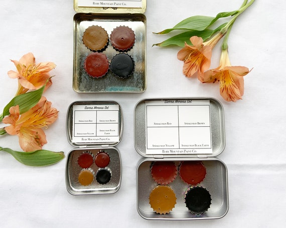 The Sierra Morena Set.  A handmade watercolor paint set featuring 4 Andalusian ochres