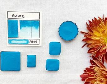 Azure. Half pan, full pan or bottle cap of handmade watercolor paint