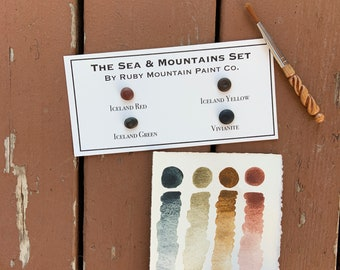 The Sea and Mountains Palette sample card, four dots of handmade earth watercolors
