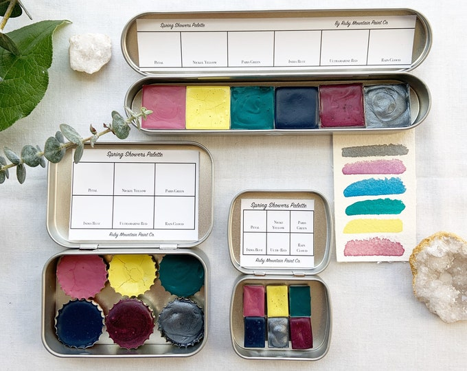 Featured listing image: The Spring Showers Palette.  A handmade watercolor paint set featuring 6  spring time colors