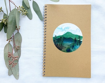Notebooks. Simple spiral notebooks with mountain cover