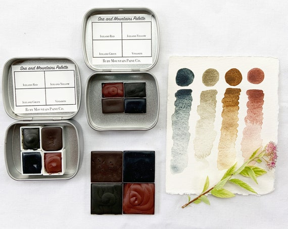 The Sea and Mountains Palette.  A handmade watercolor paint set featuring 4 mineral colors