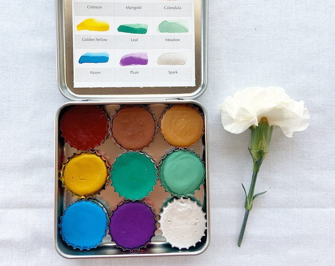 Featured listing image: The Mountain Garden Palette, mini palettes of handmade watercolors in a new tin