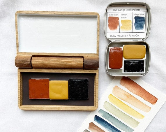 The Longs Peak Palette, a set of 3 handmade mineral watercolors