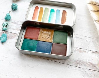 The Rosewood Palette, a handmade watercolor palette in a new tin