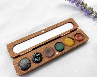 Forest Palette. Handmade watercolor paint sets featuring 6 woodland-inspired colors
