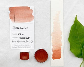 Rosewood. Half pan, full pan or bottle cap of handmade watercolor paint