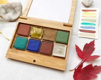 The Primrose Palette, a set of 8 colors of handmade watercolor paint in a new, reusable tin
