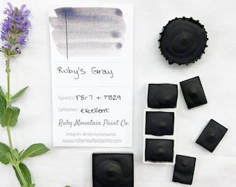 Ruby's Gray. Half pan, full pan or bottle cap of handmade watercolor paint