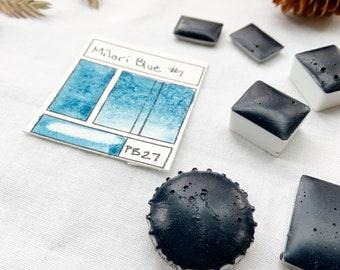 Milori Blue #1. Half pan, full pan or bottle cap of handmade watercolor paint