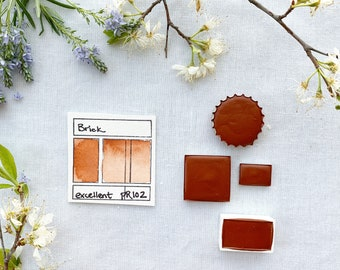 Brick Red. Half pan, full pan or bottle cap of handmade watercolor paint