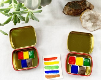 The Primaries, a set of 5 handmade watercolors in a new tin