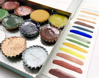 The Sailor Palette, a handmade watercolor set featuring 15 colors