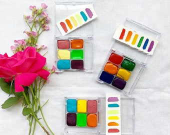 The Summer Sun Palettes, a set of 6 colors of handmade watercolor paint in a new tin