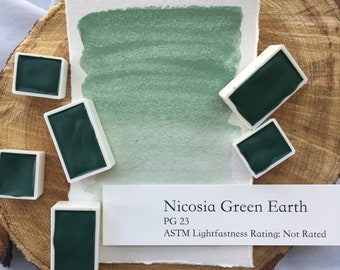 Nicosia Green Earth. Half pan, full pan or bottle cap of handmade watercolor paint