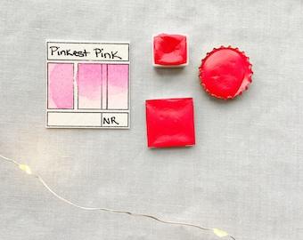 Pinkest Pink. Half pan, full pan or bottle cap of handmade watercolor paint
