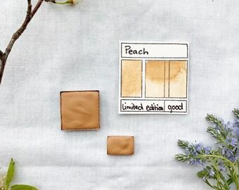 Peach. Half pan, full pan or bottle cap of handmade watercolor paint