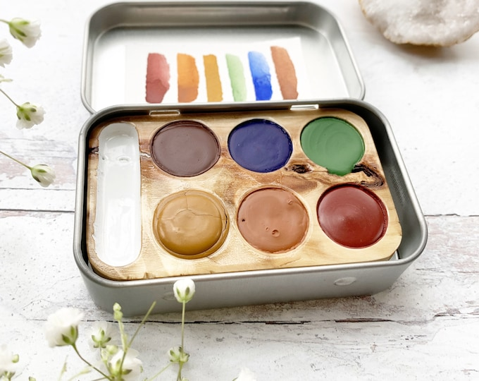 Featured listing image: Fresh Air Pocket Six Set, a unique wood palette filled with handmade watercolor paint
