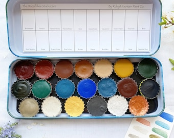 The Waterlillies Studio Set, a handmade watercolor set featuring 20 colors