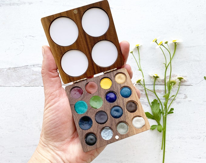 Featured listing image: Spring Sixteen Wood Palette, a handmade, refillable watercolor palette for plein air painting