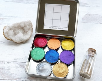 The Super Shimmer Palette, a handmade watercolor palette in a new tin with a jar of eco-friendly glitter