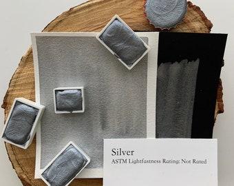 handmade watercolor paint/ Silver / Half pan, full pan or bottle cap