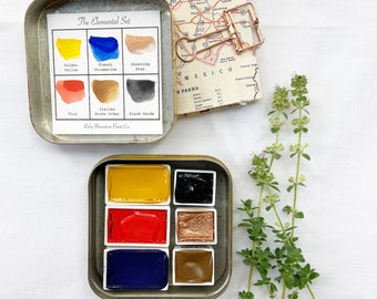 The Elemental Set, a handmade watercolor set featuring 6 pans