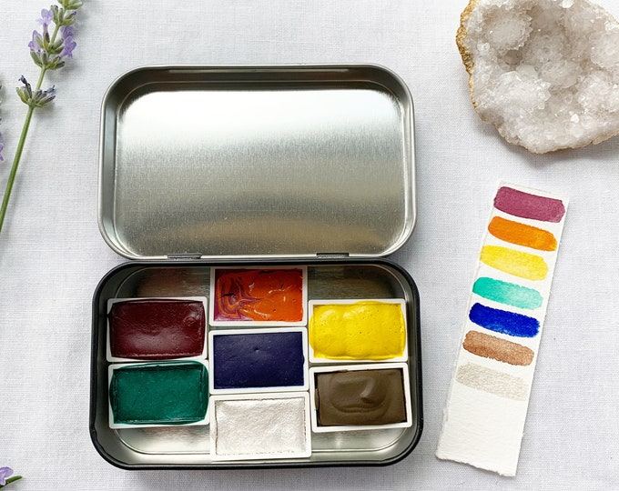 Featured listing image: In the Heat of the Summer Palette, a set of 7 colors of handmade watercolor paint in a new tin