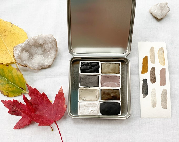 Featured listing image: Deep November Days Palette, a set of full pans of handmade watercolor paint in anew tin