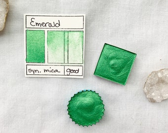 Emerald. Half pan, full pan or bottle cap of handmade watercolor paint