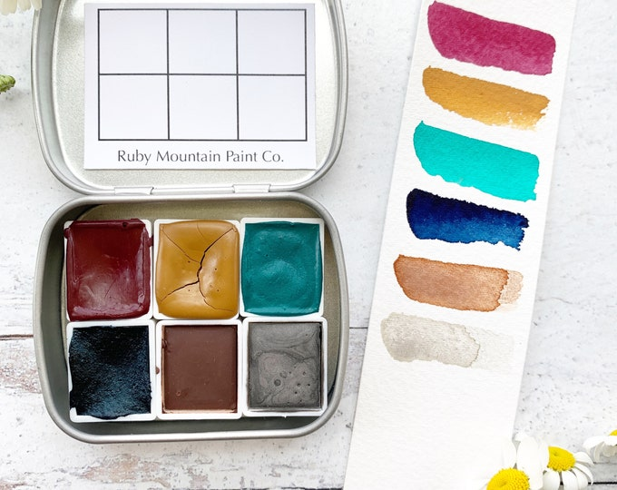 Featured listing image: Spring Garden Palette, a handmade watercolor palette in a new tin