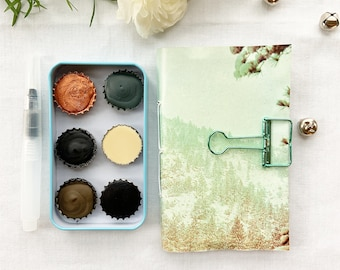 Snowy Nights Bottle Cap Gift Set, a handmade watercolor gift set for cozy winter nights