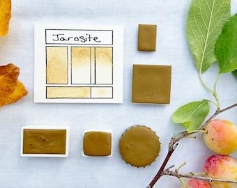 Jarosite. Half pan, full pan or bottle cap of handmade watercolor paint