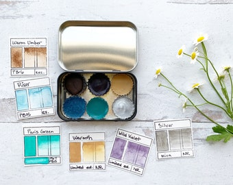 Spring Dreams Palette, a handmade watercolor palette in a new tin