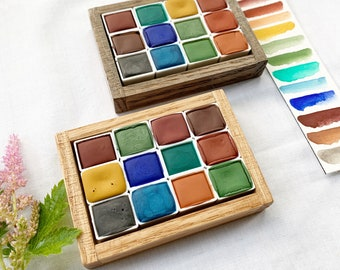 Fresh Air Studio Set, palettes of handmade watercolor paint in handmade wood boxes