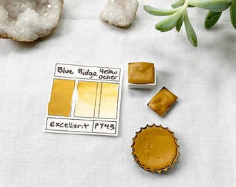 Blue Ridge Yellow Ocher. Half pan, full pan or bottle cap of handmade watercolor paint