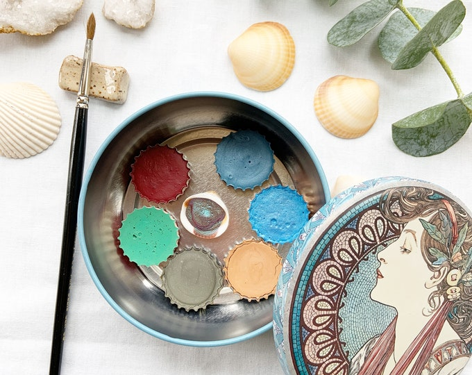 Featured listing image: The Goddess Palette, a set of 7 colors of handmade watercolor paint in a new tin