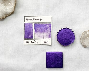Amethyst. Half pan, full pan or bottle cap of handmade watercolor paint