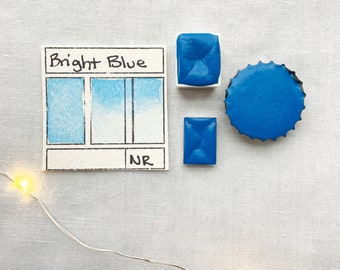 Bright Blue. Half pan, full pan or bottle cap of handmade watercolor paint