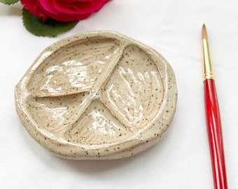 Peace Sign Ceramic Mixing Palette for watercolor painting