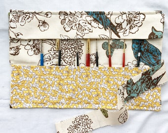 Custom Order for Christina Z:   Birds and Butterflies Paint Brush Roll, handmade art supply case, drawing pencil case