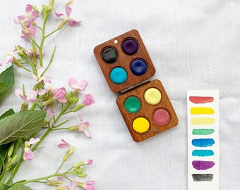June Collection Wood Palettes.  Handmade watercolor paint sets featuring 8 colors