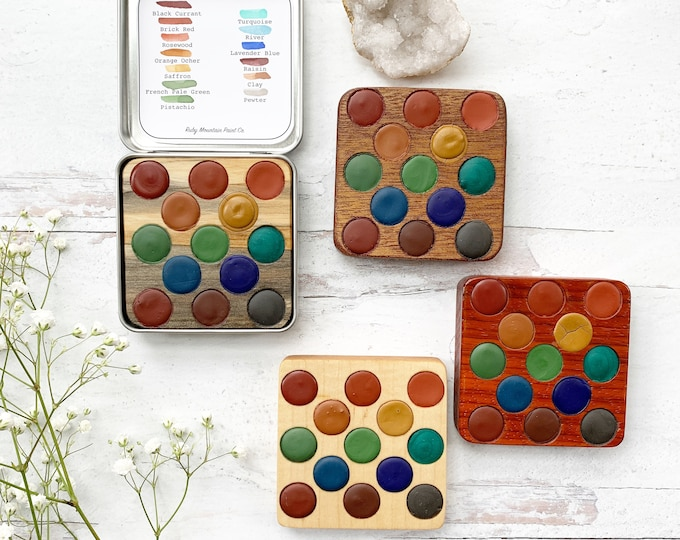 Featured listing image: Fresh Air Collection Wood Palette, handmade watercolors in a wood insert
