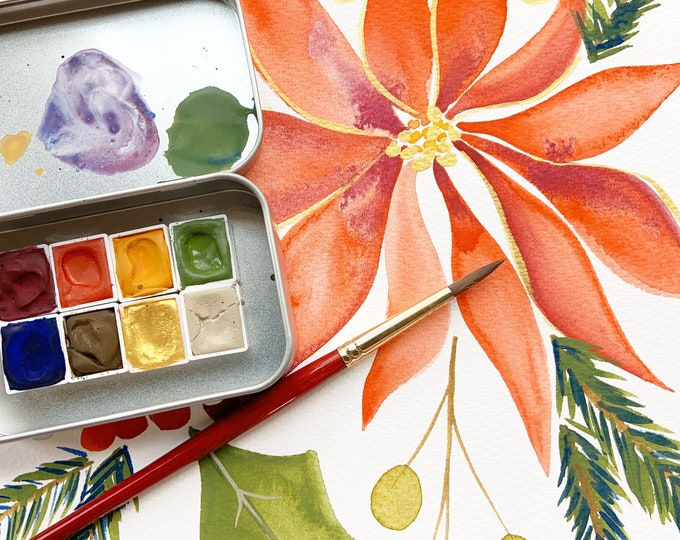 Featured listing image: Holidays In Bloom, a handmade watercolor set for the holidays