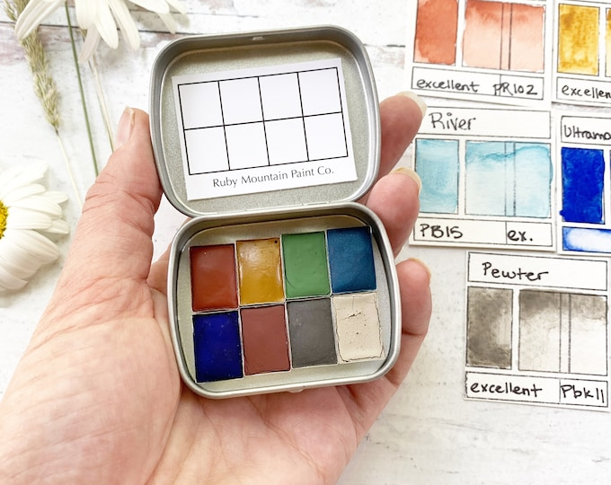 Featured listing image: The Late Summer Traveler's Palette, a handmade watercolor palette in a new tin