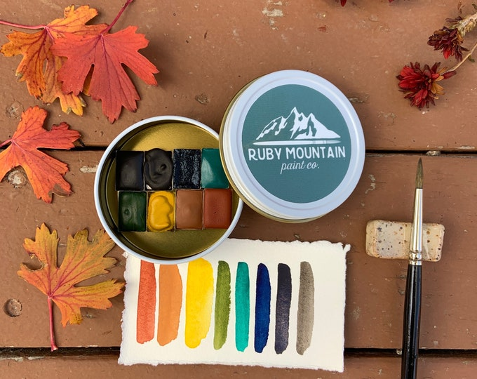Featured listing image: The November Traveler's Palette, a mini palette of handmade watercolors in a new travel tin