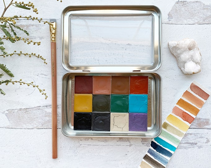 Featured listing image: The High Desert Palette, a set of 12 colors of handmade watercolor paint in a new tin